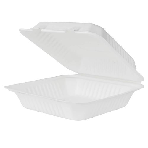 CONTAINER 9X9 HINGED BAGASSE