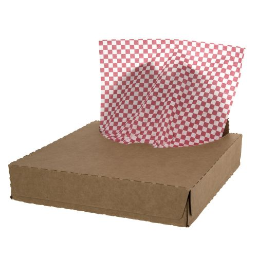 """Millennium Packaging 7B12RC Grease-proof Red Check Liner Tissue 12"""" x 12"""" - Box of 1000"""