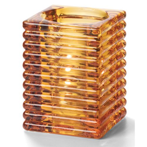 Horizontal Rib Block Lamp, Glass, Amber