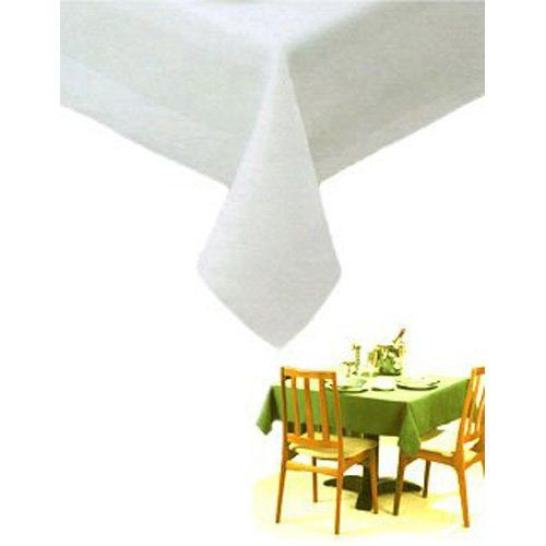 White Linen Tablecloth 90 Inch Round