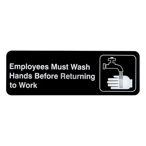 "Tablecraft 394530 Employees Must Wash Hands Sign - 3"" x 9"""