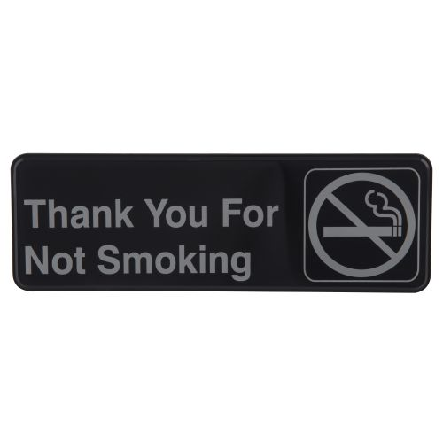"Tablecraft 394521 Thank You For Not Smoking Sign - 3"" x 9"""
