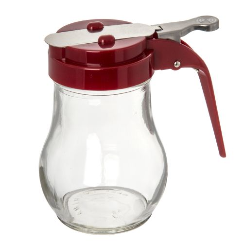 Glass Syrup Dispenser, 6 Oz., Red Top