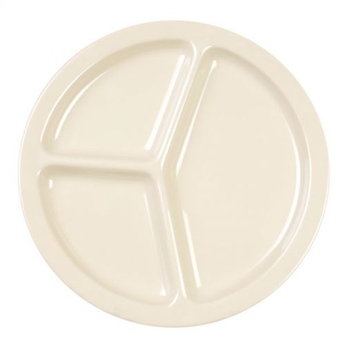 10 Inch Melamine Three Compartment Plate - Nu Stone Tan