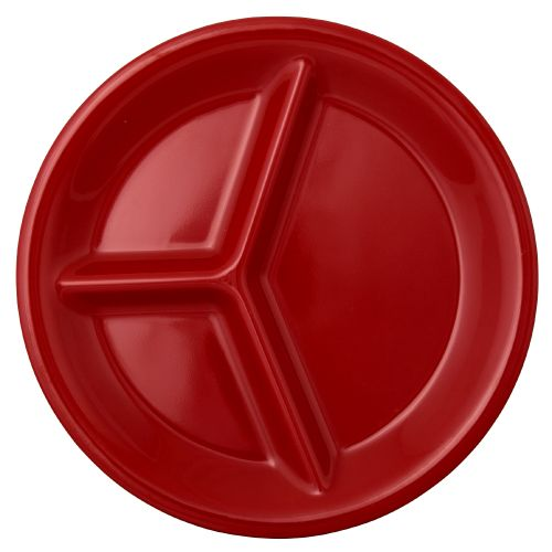 10 1/4 Inch Melamine Three Compartment Plate - Color Pure Red