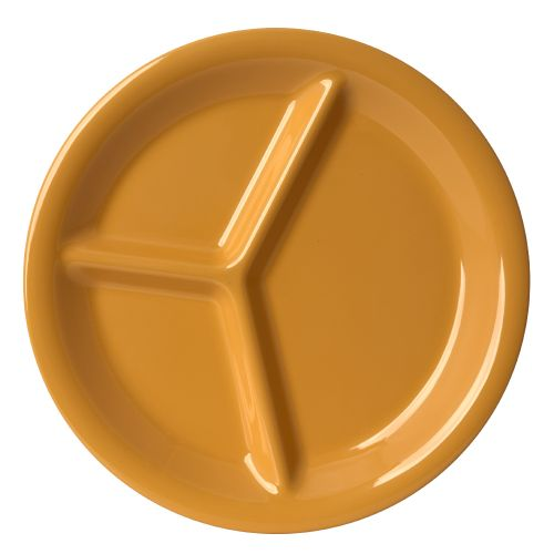"10 1/4"" Melamine Three Compartment Plate - Color Yellow"