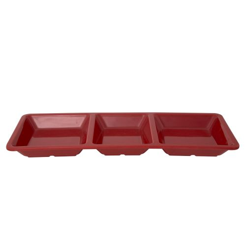 28 Oz Melamine Three Compartment Rectangular Tray - Passion Red