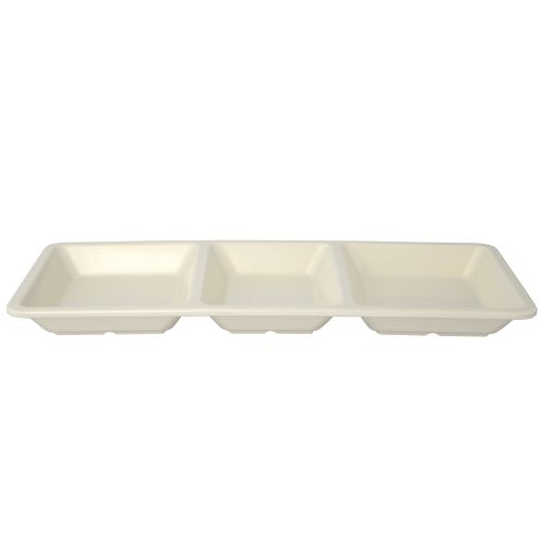 28 Oz Melamine Three Compartment Rectangular Tray - Passion Pearl