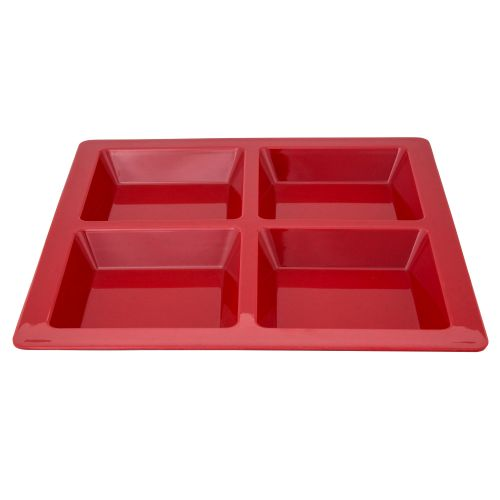 60 Oz Melamine Four Compartment Square Tray - Passion Red