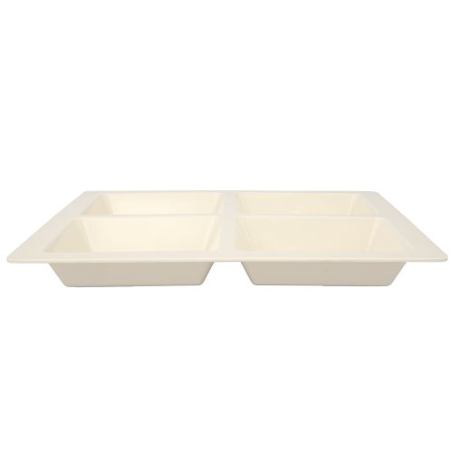 60 Oz Melamine Four Compartment Square Tray - Passion Pearl