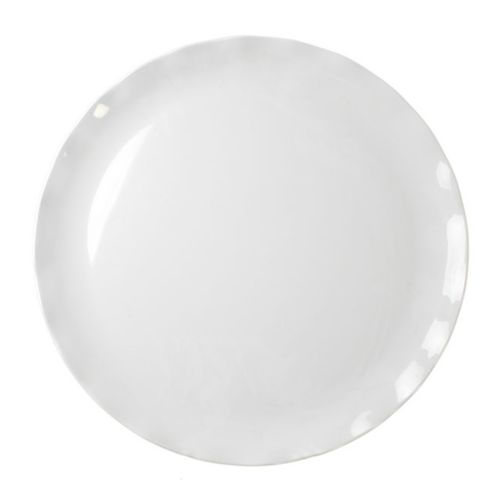 "18"" Melamine Plate - Black Pearl Solid White"
