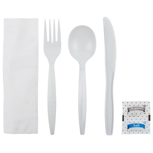 White Cutlery Kits with Salt and Pepper (Case of 250)