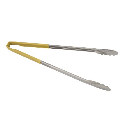Spring-Less Utility Tongs with Yellow Color-Coded Kool Touch Handle