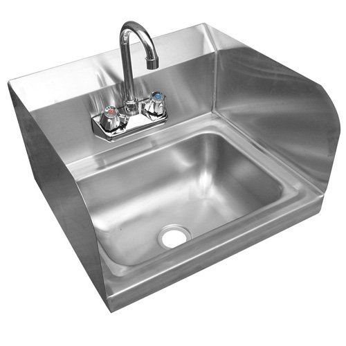 Jaxpro Hs17sp Wall Mounted Hand Sink W 4 Gooseneck Faucet Side Splashes