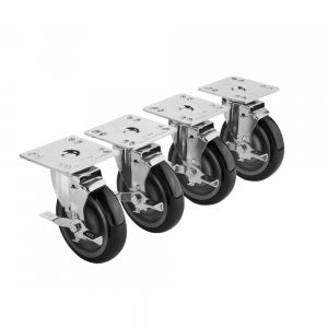 "5"" Plate Caster Set - Swivel W/ Brake"