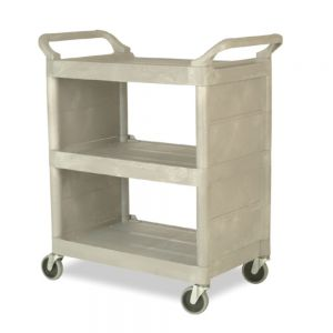 Utility Cart with Enclosed Ends Panels, Platinum