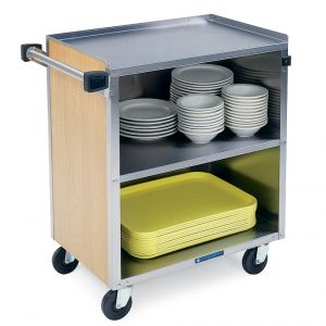 Bussing Cart, enclosed back and sides, 3 shelf, shelf size 18 x 27, stainless steel angle frame w/pu