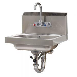 Hand Sink, Wall Model, 14 x 10 x 5 Bowl, Splash Mounted Faucet, Lever Drain