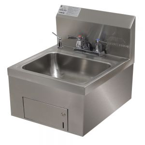 Hand Sink, Wall Model, 14 x 10 x 5 Bowl, Deck Mounted Fixed Faucet, Soap/Towel Dispenser