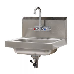 Hand Sink, Wall Model, 14 x 10 x 5 Deep Bowl, Splash Mounted Faucet, Lever Drain
