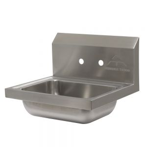 Hand Sink, Wall Model, 14 x 10 x 5 Deep Bowl, Double Splash Faucet Holes (No Faucets)