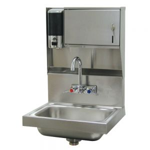 Hand Sink, Wall Model 14 x 10 x 5 Deep Bowl, Splash Mount Faucet, Soap/Towel Dispenser, Basket Drain