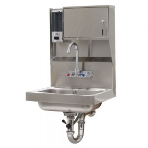 Hand Sink, Wall Model, 14 x 10 x 5 Deep Bowl, Splash Mounted Faucet, Lever Drain with Overflow