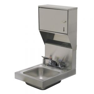 Hand Sink, Wall Model, 9 x 9 x 5 Deep Bowl, Deck Mounted Faucet, Towel/ Soap Dispenser