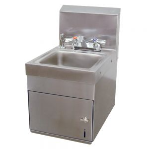 Hand Sink, Wall Model, 9 x 9 x 5 Deep Bowl, Deck Mounted Fixed Faucet, Towel/Soap Dispenser