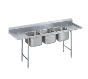 Regaline Three Compartment Sink, 28 x 20 x 12 Bowls, Right and Left Drainboard, 18/304 S/S