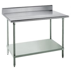 14 Gauge 30 x 120 Stainless Steel Work Table with Undershelf and 1-1/2 Backsplash
