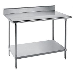 14 Gauge 30 x 144 304 Stainless Steel Work Table with Undershelf and 1-1/2 Backsplash