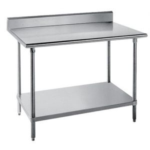 14 Gauge 24 x 108 Work Table with Stainless Steel Adjustable Undershelf and 5 Inch Backsplash