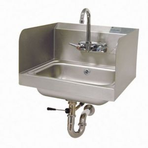 Hand Sink, Wall Model, 14 x 10 x 5 Bowl, Side Splashes, 20 Gauge Stainless Steel