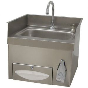 Recessed hand Sink with Knee Operated Faucet, Soap/Paper Towel Dispenser