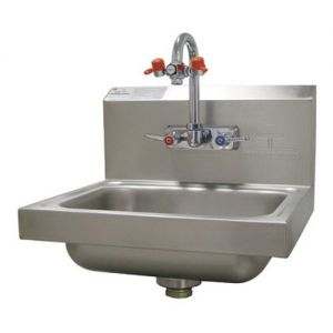 Eye Wash Hand Sink, Wall Model, 14 x 10 x 5 Deep Bowl, Splash Mounted Gooseneck Faucet