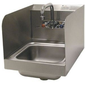 Hand Sink with Side Splashes, Wall Model, 9 x 9 x 5 Deep Bowl, Splash Mounted Faucet