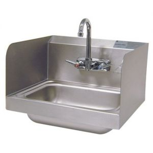 Hand Sink, Wall Model, 14 x 10 x 5 Deep Bowl, Side Splashes, Splash Mounted Faucet