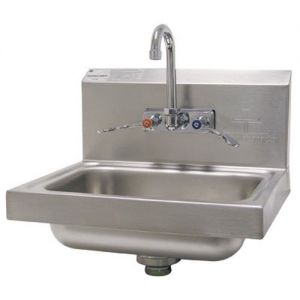 Hand Sink, Wall Model, 14 x 10 x 5 Deep Bowl, Splash Mounted Faucet with Wrist Handles