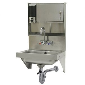 Hand Sink, 14 x 10 x 5 Deep Bowl, Slash Mounted Faucet with Wrist Handles, Soap/Towel Dispenser