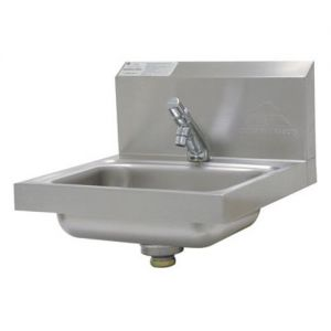 Hand Sink, H.A.C.C.P. Compliant Wall Model, 14 x 10 x 5 Deep Bowl, Slow Self-Closing Metering Faucet