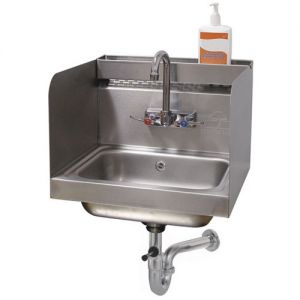 Hand Sink, Wall Model, 14 x 10 x 5 Deep Bowl, 12 Inch Side Splashes with Removable Utility Tray
