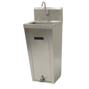 Hand Sink, Pedestal Mounted Base, 14 x 10 x 5, Splash Mounted Faucet, Pedal Valves