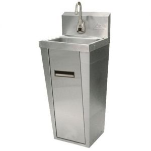 Hand Sink, Pedestal Mounted Base, 14 x 10 x 5 Deep Bowl, Electronic Faucet