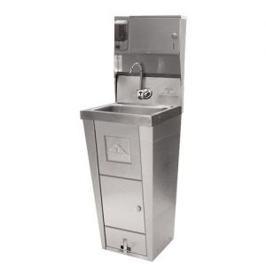 Hand Sink, Pedestal Mounted Base, 14 x 10 x 5 Deep Bowl, Soap/Towel Dispenser, Trash Receptacle