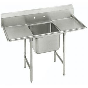 Regaline One Compartment Sink, 28 x 20 x 12 Bowls, Two Drainboards, 16/304 S/S, 58 Inches