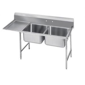 Regaline Two Compartment Sink, 28 x 20 x 12 Bowls, Left Drainboard, 16/304 S/S, 72 Inches