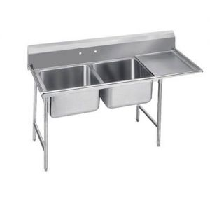 Regaline Two Compartment Sink, 20 x 20 x12 Bowls, Right Drainboard, 16/304 S/S, 72 Inches