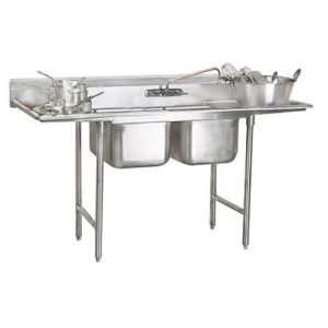 Regaline Two Compartment Sink, Two Drainboards, 16/304 Stainless Steel, 109 Inches