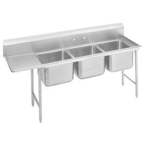 Regaline Three Compartment Sink, 28 x 20 x 12 Bowls, Left Drainboard, 16/304 S/S, 95 Inches